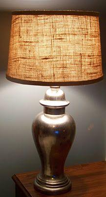 Designing Details: Burlap Lamp Shade Mercury Glass Lamp....Divine!!!