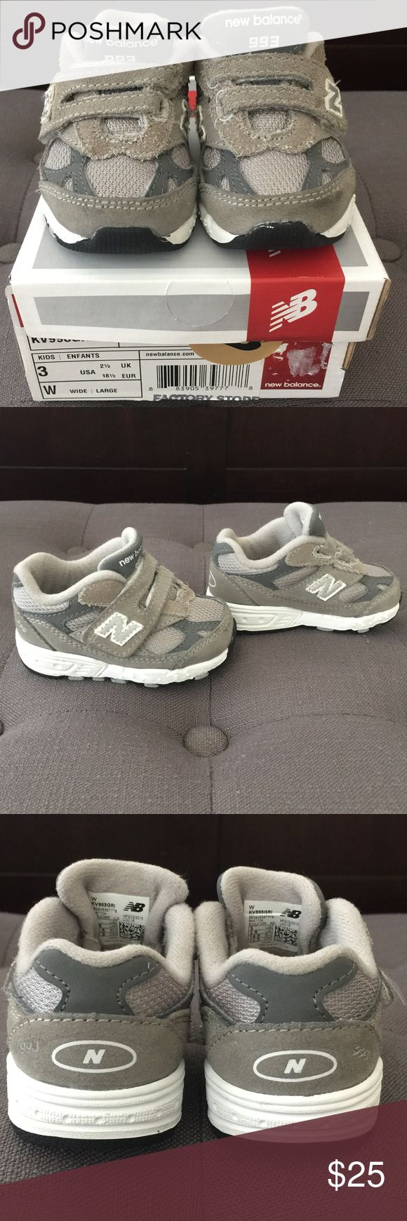 Toddler New Balance sneakers Good used condition. Some dirt marks on the front but no other real signs of wear. Purchased at a factory store while we were out of town. Size 3wide and come with original box. New Balance Shoes Sneakers