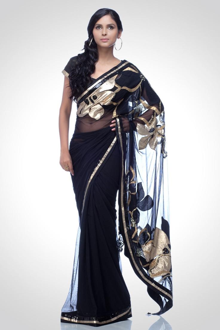 Satya Paul Black saree with gota work...Dreamscape collection
