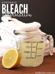 Homemade bleach alternative recipe that uses all natural ingredients found in your home and costs 1/3 less than store-bought. Plus it works great too!
