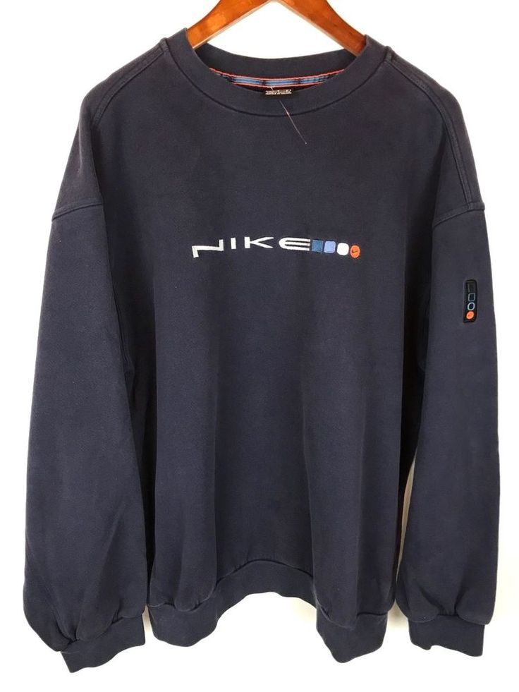 Vintage Nike Crewneck Sweatshirt Mens Large Blue Orange 90s Black Tag Swoosh