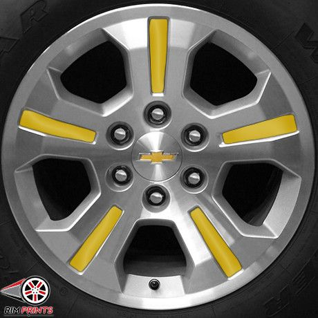 This image features the Bright Yellow print for the Chevy Silverado. Rim Prints guarantee to instantly improve the look of your rims! Go now to www.rimprints.com to choose your color and secure yours today! 2014-2015 Chevy Silverado $149 for all 4 wheels www.rimprints.com