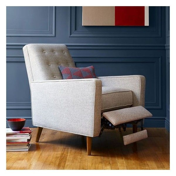 West Elm Rhys Mid Century Recliner Twill Gravel 559 Liked On Polyvore Featuring Home Mid Century Recliner Living Room Chairs Modern Living Room Chairs #west #elm #living #room #chairs