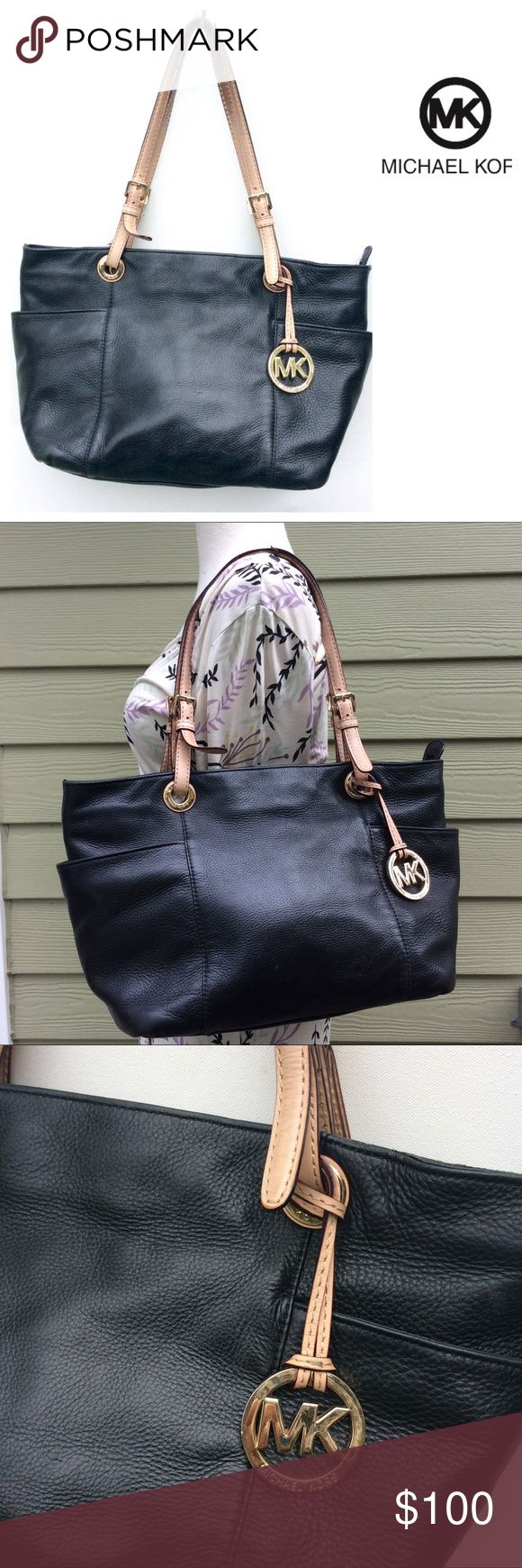 MICHAEL KORS large black BAG leather authentic Roomy leather bag by Michael Kors . Some wear to handles and inner lining. Still lots of life left! Measurements are in picture. Michael Kors Bags Shoulder Bags