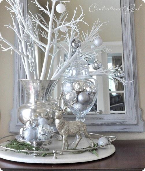 shimmering silver/white arrangement