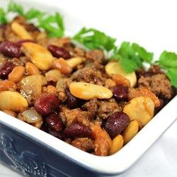 Kidney beans, baked beans and butter beans are combined with ground beef, bacon and onion in this hearty dish. You can also put the ingredients into a slow cooker and cook for about 8 hours on low.