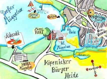 Hand illustrated Map, Landkarte handgezeichnet. Berlin
