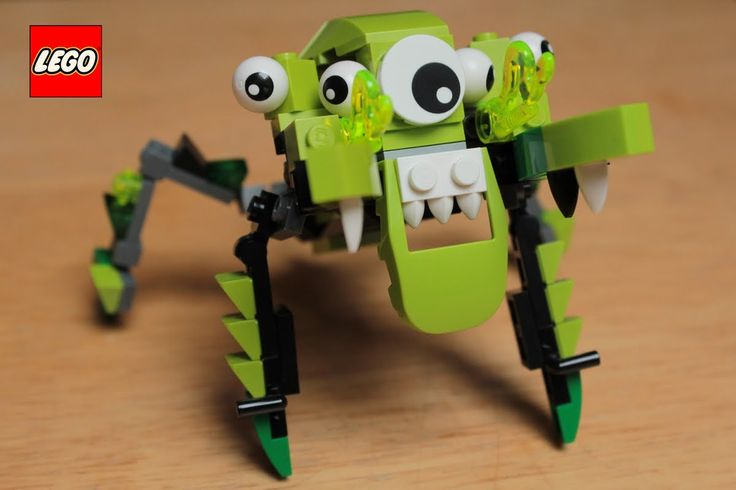 Show LEGO green Spider mix stop motion build toy.Pająk