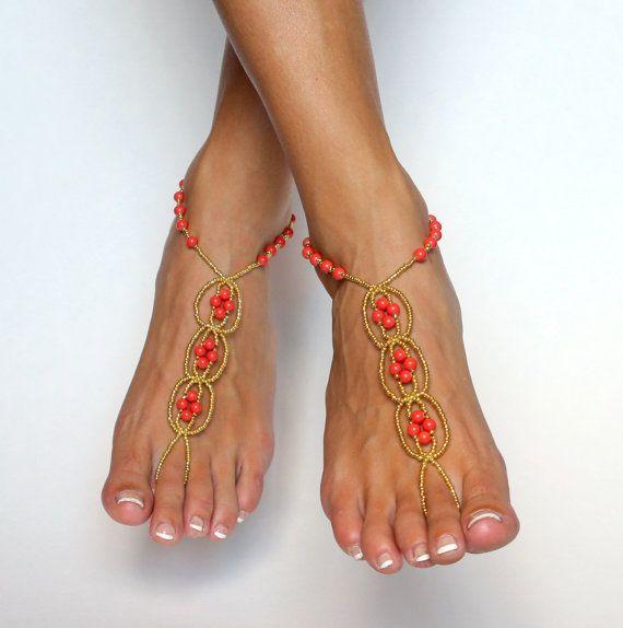 Korallen und Gold barfuss Sandalen Hochzeitssuite von BareSandals