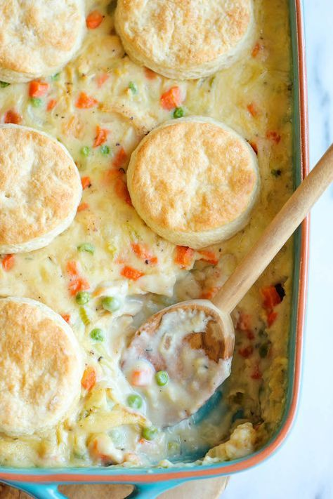 Biscuit Pot Pie - Comfort food never tasted so good in this comforting and creamy pot pie topped with easy homemade biscuits!