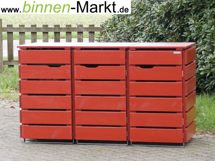 m lltonnenverkleidung 3er m lltonnenbox nordisch rot aus wetterfestem holz douglasie made. Black Bedroom Furniture Sets. Home Design Ideas