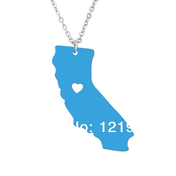 Персонализированные Государственный Ожерелье-Я Люблю Калифорния Ожерелье-На Заказ Карта Подвеска-Акриловые Государственный Шарм-Карта ожерелье