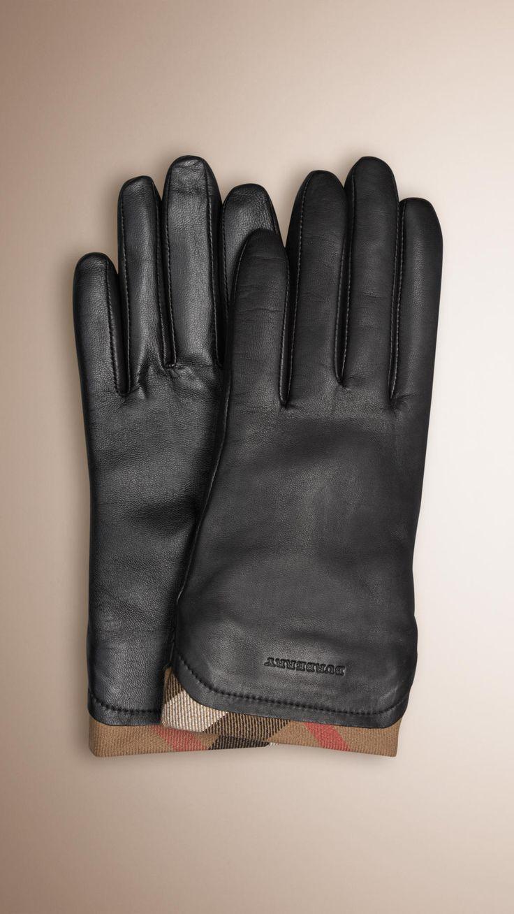 Black gloves with leopard trim - Burberry Check Trim Leather Gloves Black Elegant Leather Gloves With House Check Cotton Trim