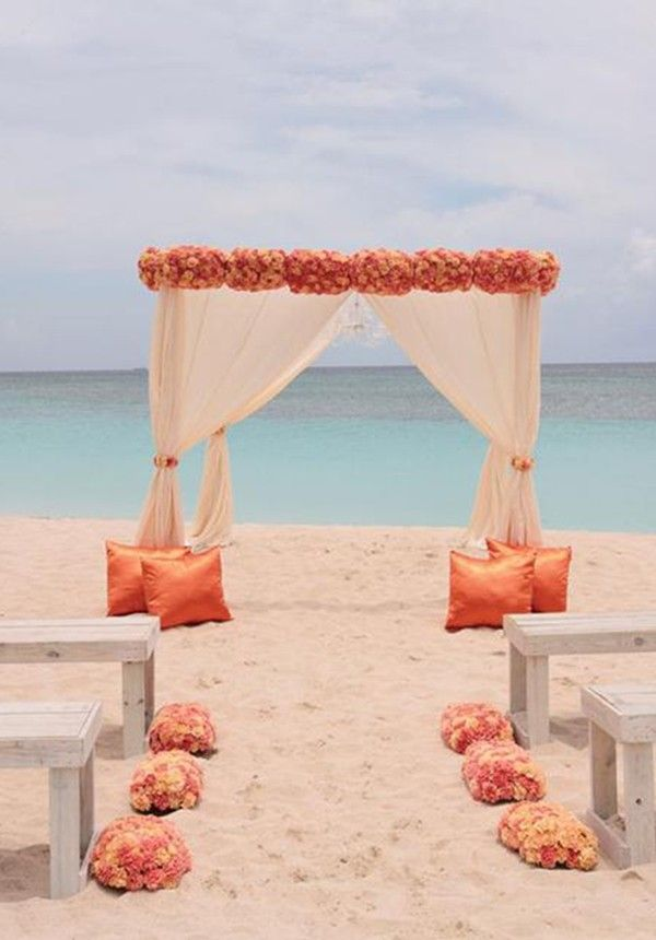 Flowers sunset beach wedding decoration photos shoot for Arches decoration