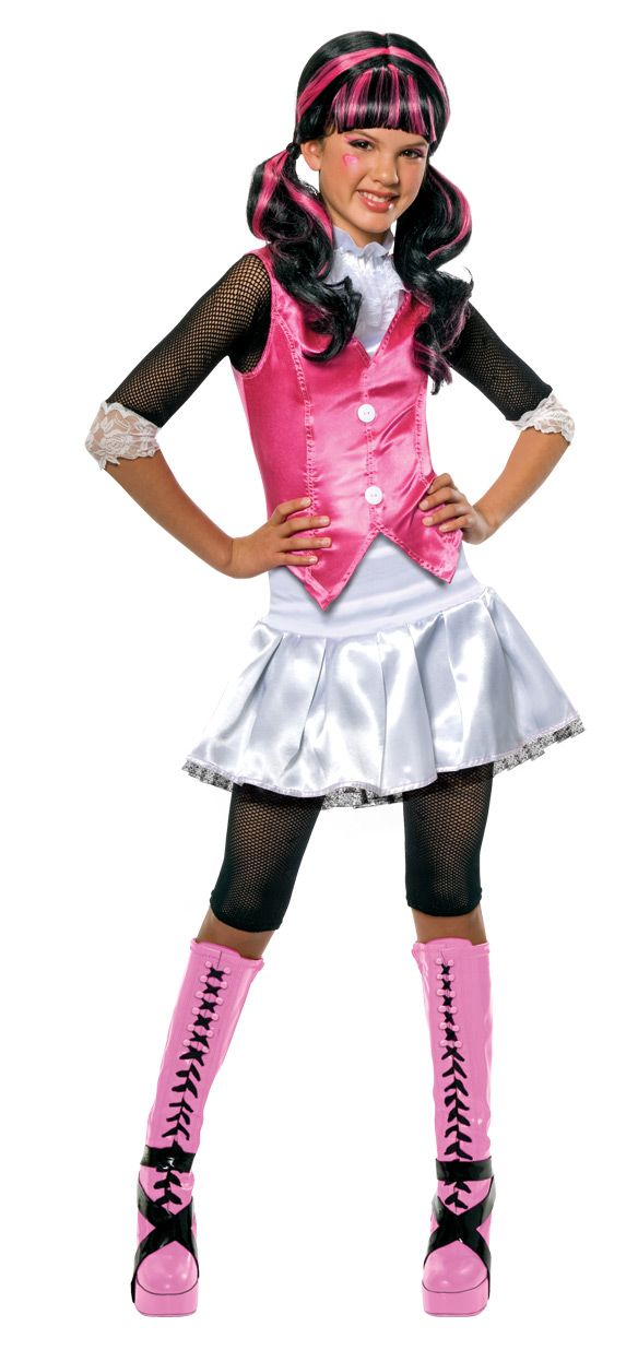 Girl's Draculaura Monster High Halloween Costume - This is a Draculaura cartoon costume from the TV series Monster High. The Draculaura costume comes with a white satin like skirt with a black crinoline underlay and a thick elastic waist band. The top has a vest faux button front with a ruffle lace collar and black mesh sleeves with a lace cuffs. #draculaura #monsterhigh #tv #children #kids #costume #yyc #calgary
