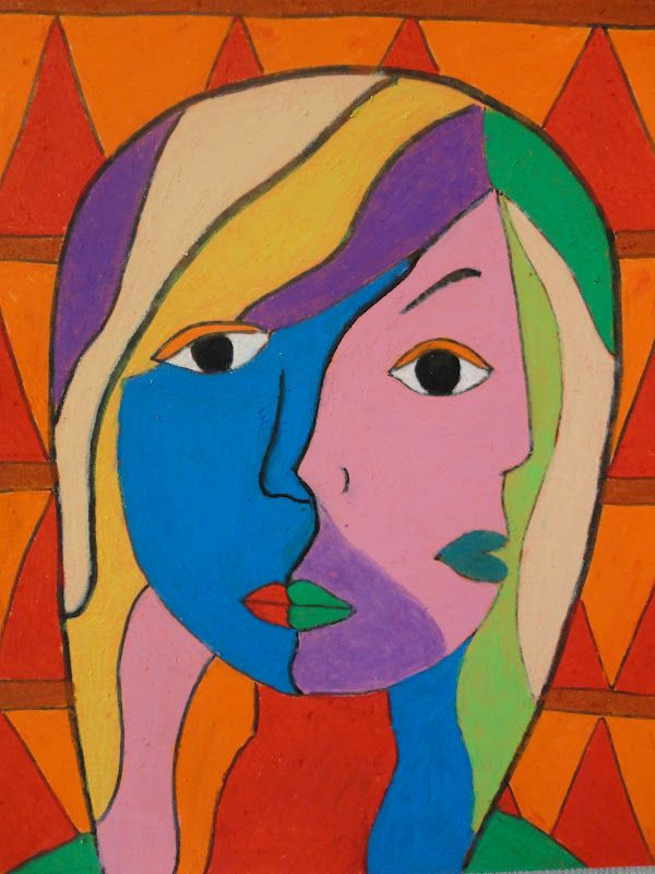 Art Mash: oil pastel  picasso, cubism portraits,,, check out the other examples