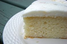 Best white cake! Sturdy for stacking or carving, yet moist and delicious! You can find this recipe, with its MANY variations, on cakecentral.com.