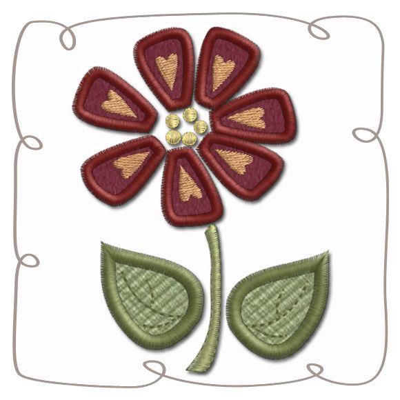 Flower Applique Machine Embroidery Design Pattern-INSTANT DOWNLOAD