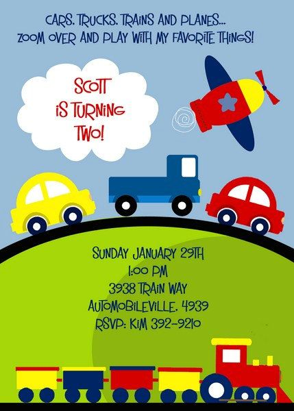 PLANES TRAINS and Automobiles TRANSPORTATION Invitation for Birthday or Baby shower. Printable file. $15.00, via Etsy.