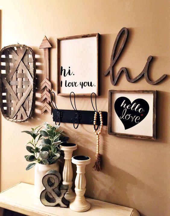 Farm decor gallery wall in my master bedroom. rustic, home decor, bedroom decor, master, living room decor, hall way, arrow, hi, I love you, love you hooks, decor plants rustic (aff link)