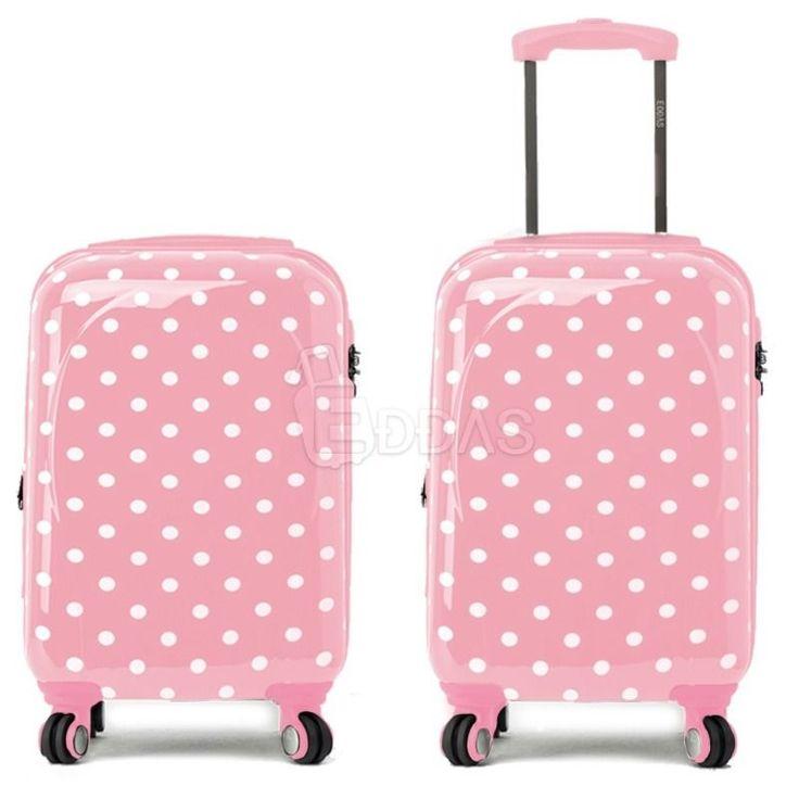 "EDDAS polka dot Pink 20"" Luggage Carry-On spinner wheel travel Hard Suitcase #Eddas"