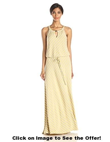 Calvin Klein Women's Stripe Keyhole Maxi Dress