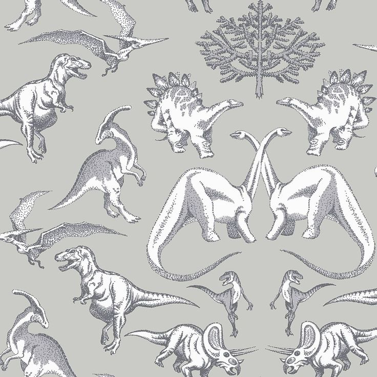 Dotty Dinosaurs by Kerry Caffyn - Grey : Wallpaper Direct