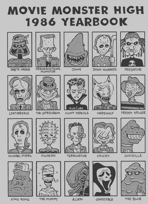 Movie Monster High - 1986 Yearbook - Comic version of all your favorite horror villians #funnies #horror