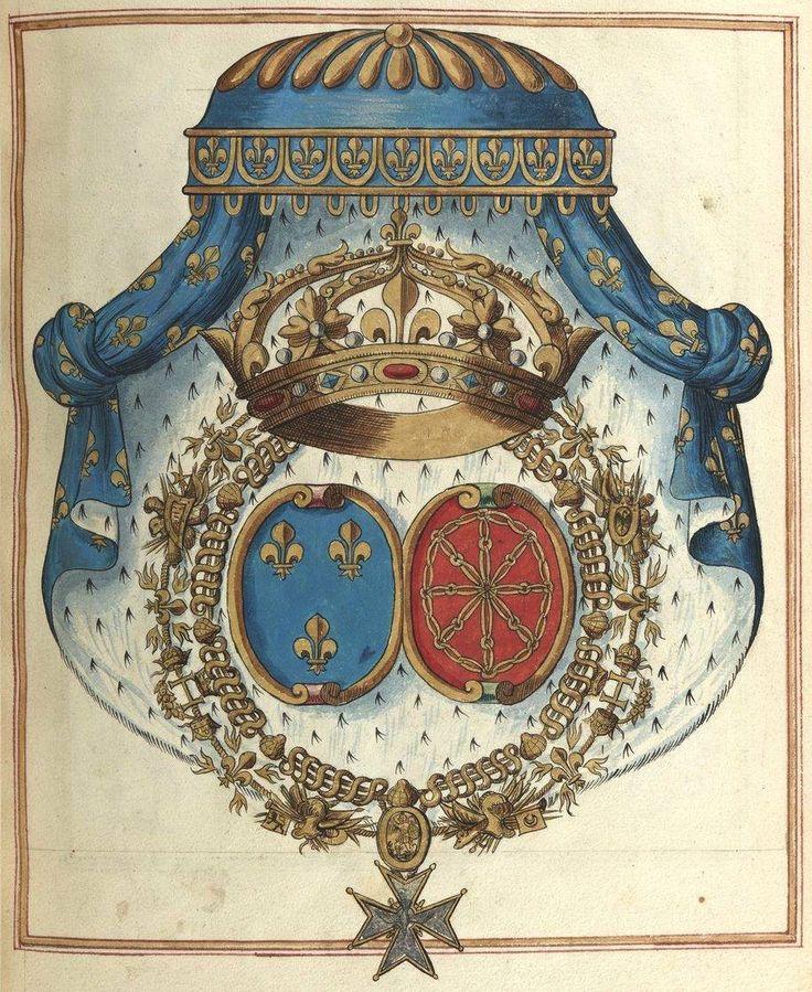 «Recueil des armoiries des premiers et anciens pairs que jadis on nommoit et appelloit les douze pairs de France, et celles des modernes ducz, pairs et non pairs qui vivent aujourd'huy… Contenant aussy les armoiries de tous les princes, seigneurs et prelats qui ont assisté aux sacres des roys Henry le Grand,… et Louis 13e, son filz, dit le Juste […]», par M. de Valles, Paris, 1634 [BNF, Ms Fr 2768] -- f°62r : Louis XIII dit le Juste, roi de France et de Navarre.