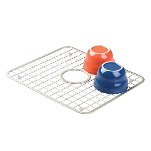 mDesign Kitchen Sink Protector Grid - Regular with Hole for Sink Strainer, Satin