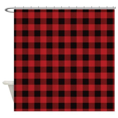 Red Black Flannel Plaid Shower Curtain on CafePress.com