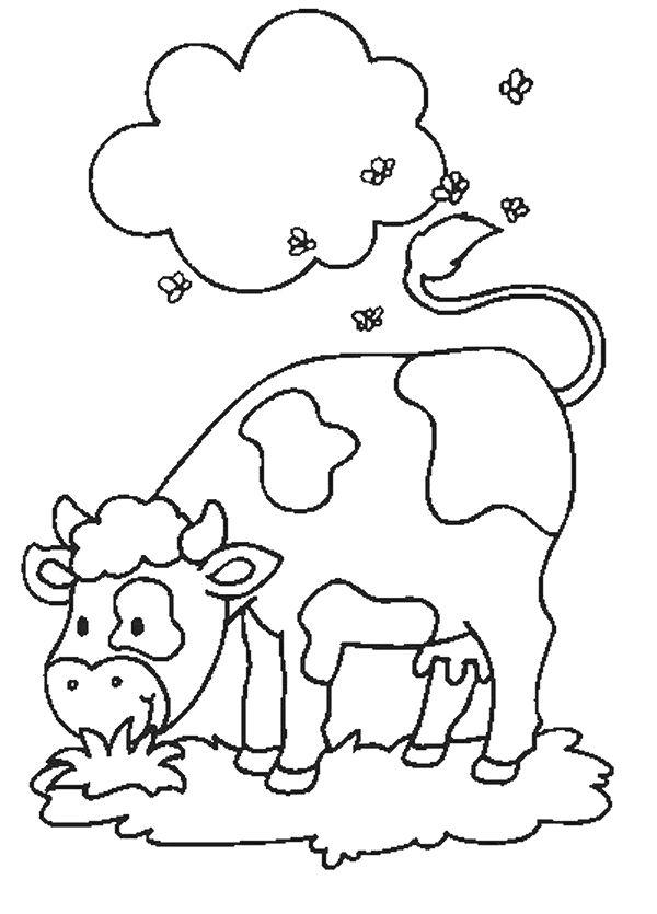 kleurplaat: grazende koe.