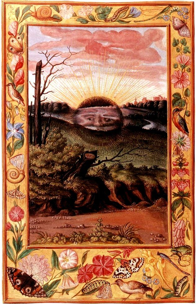 The black sun emerging from the earth.  Nineteenth image in the well known early 16th century alchemical manuscript the Splendor solis.   Sol niger (black sun) can also refer to the result of the first stage of the magnum opus in alchemy, the nigredo (blackening). The complete magnum opus (Great Work) ends with the production of gold. The magnum opus can also be understood in a mystic way.