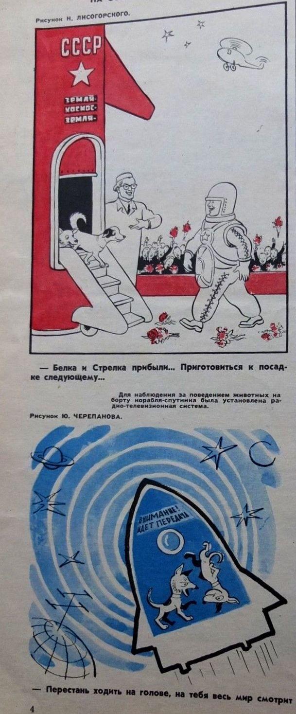 Mas rusos.Estas son dos de las caricaturas sobre los perros cosmonautas. Si quereis saber algo mas de ellos, el enlace esta en wikipedia, SOVIET SPACE DOGS