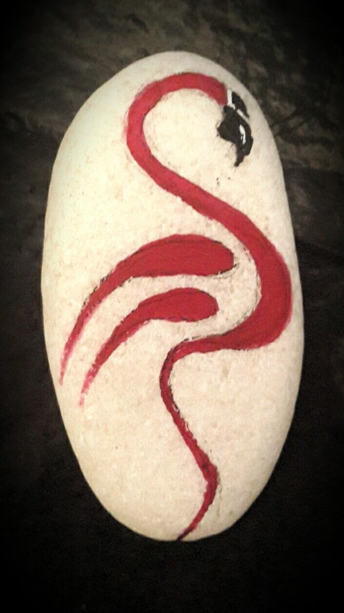 Flamingo/ pebble/ acrilic painted