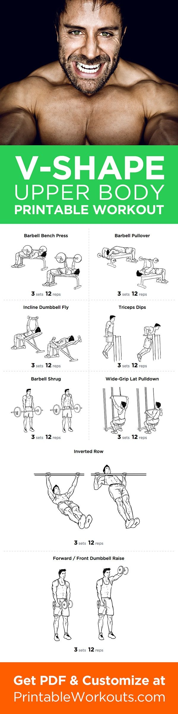 V-Shape Upper Body Printable Workout Plan