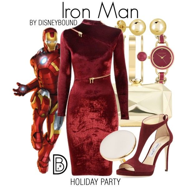 Iron Man by leslieakay on Polyvore featuring mode, Agent Provocateur, Jimmy Choo, INC International Concepts, Anne Klein, BERRICLE, disney, marvel, disneybound and disneycharacter