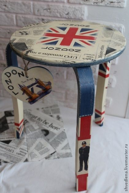 "Handmade furniture. Livemaster – original item Tea table ""Denim style. LONDON"". …"