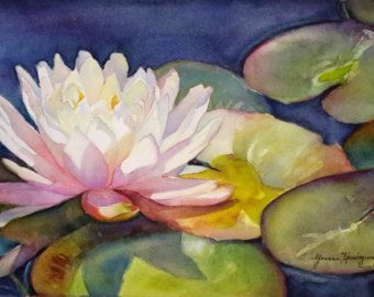 Waterlilie pittura bianco Lotus-Original Watercolor Painting of bianco Lotus/Waterlilie-Home Decor Wall Art per gli amanti dei fiori, Idea regalo