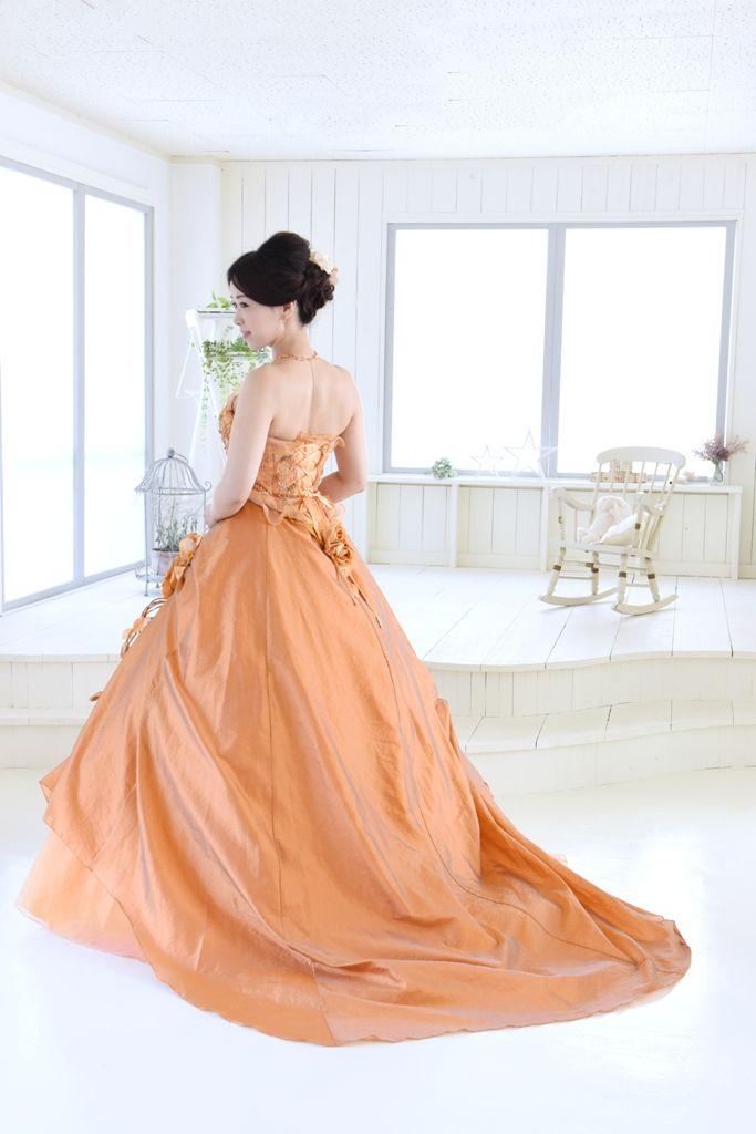 colordress カラードレス 大手他店参考価格38万→98,000円 #colordress #orange #antique #カラードレス #オレンジ #アンティーク #結婚式 #bridal