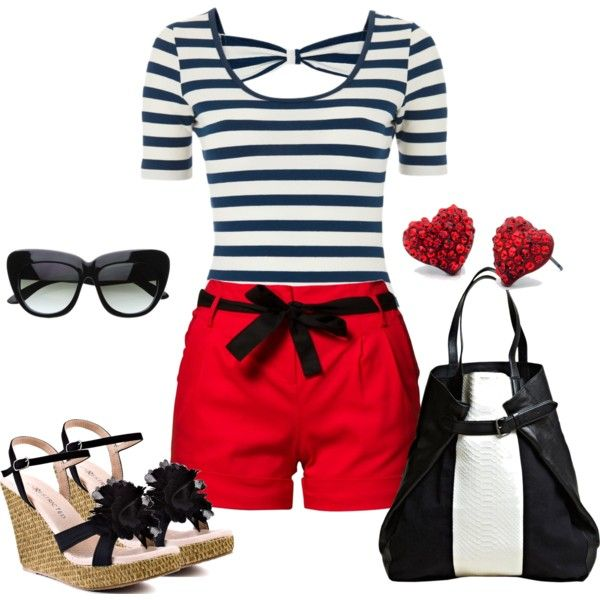 "Love! ""Black Stripes w/Red"" by shellydiaz on Polyvore"