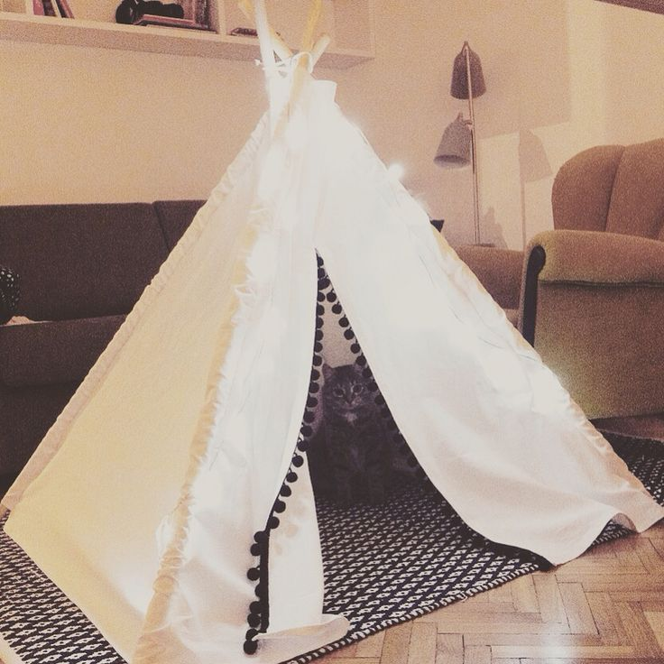 Teepee tipi  Made with love for my Godson ..but before he even had a chance to see it..my nosy pussy cat (alias Pocahontas) has moved in