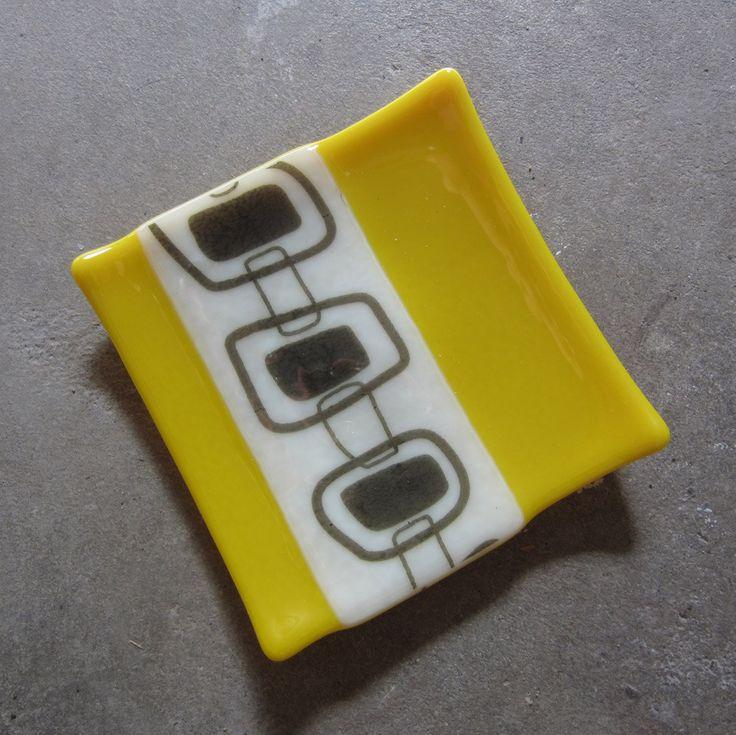 Yellow home decor, Bathroom Decor, Fused Glass Plate.  Etsy.