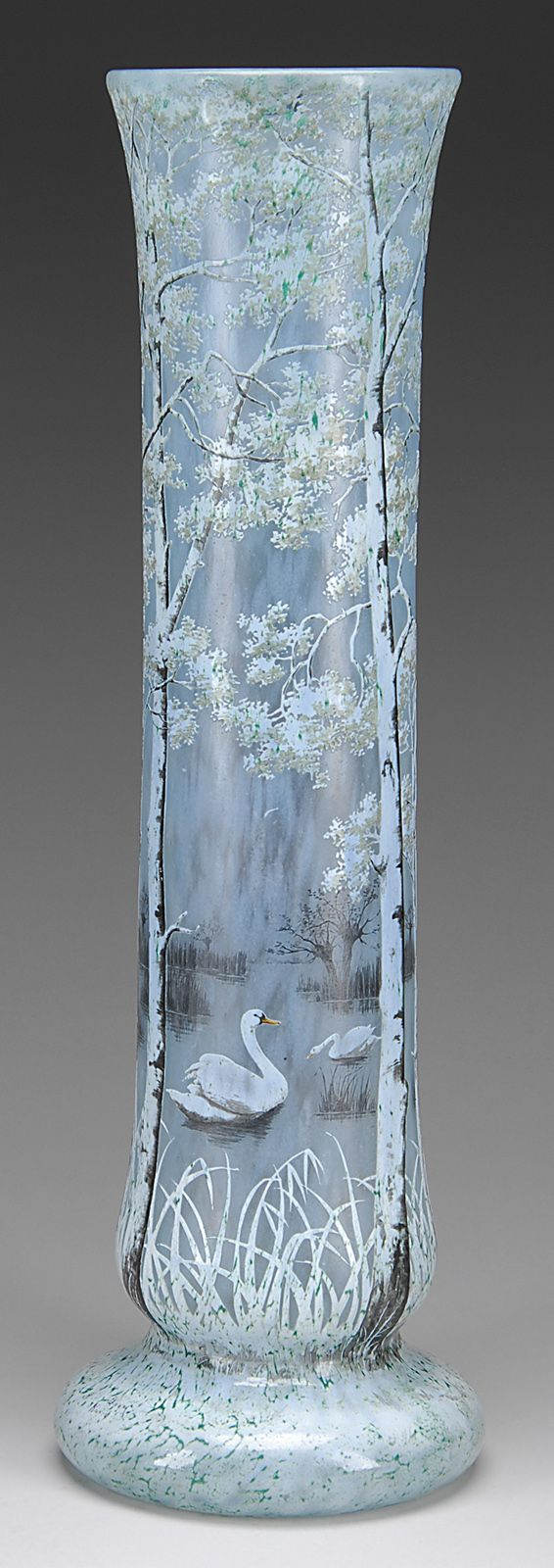 """French Cameo glass is highlighted by a magnificent and monumental 26"""" Daum swan vase"""