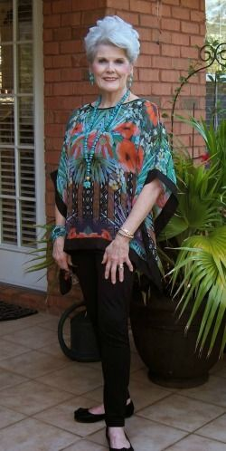 A silk scarf top and leggings look fab after 40, 50 and 60!