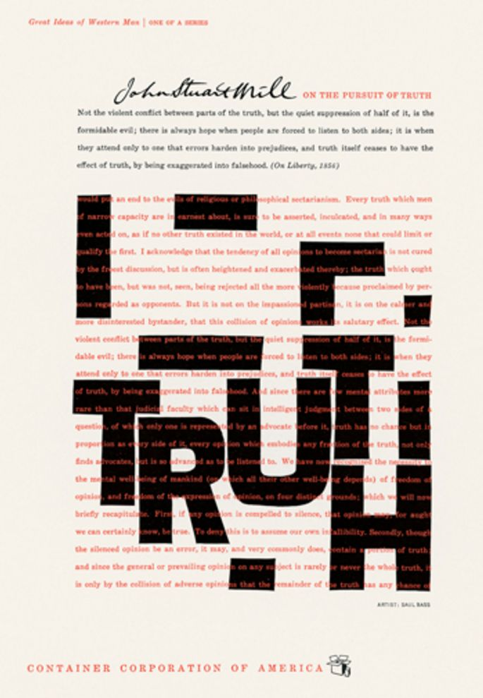 Saul Bass (1920-1996, American), 1957, Truth, Container Corporation of America.