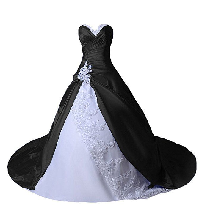 Weiß schwarz brautkleider in Brautkleid schwarz