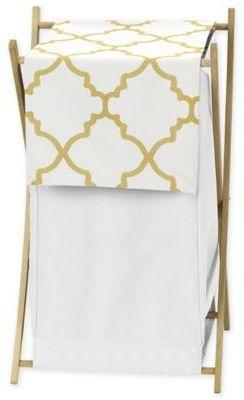 Sweet Jojo Designs Trellis Laundry Hamper in White/Gold