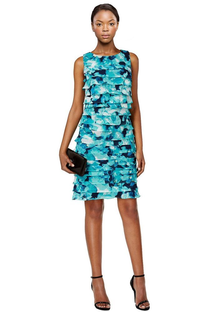Jessica Howard Petite Blue Printed Tiered Shift Dress 10P #JessicaHoward #Tiered #Cocktail