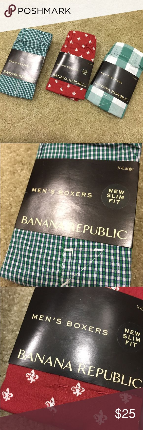 Men boxers 3 pairs Brand new. Bought for husband ended up being to big. Open to offers Banana Republic Underwear & Socks Boxers